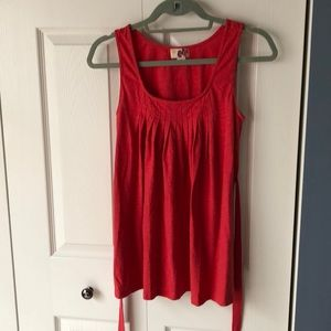 Forever 21 red tank top, pleat neck, tie waist, S